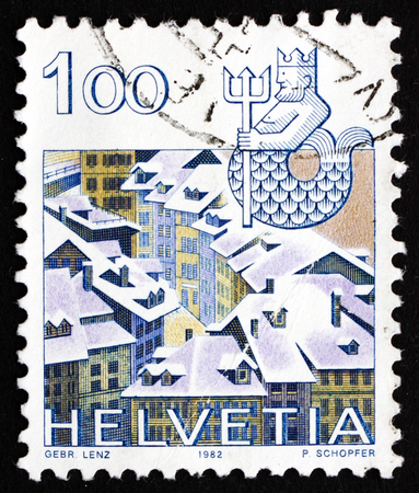 SWITZERLAND - CIRCA 1982: a stamp printed in the Switzerland shows Aquarius, Old Bern, Sign of the Zodiac and Landscape, circa 1982