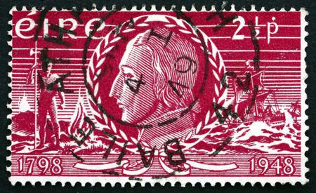 insurrection: IRELAND - CIRCA 1948: a stamp printed in the Ireland shows Theobald Wolfe Tone, Irish Revolutionary, Insurrection of 1798, 150th Anniversary, circa 1948