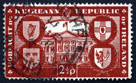 leinster: IRELAND - CIRCA 1949: a stamp printed in the Ireland shows Leinster House, Dublin, International Recognition of the Republic, Easter Monday, 1949, circa 1949 Editorial