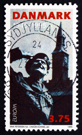 montgomery: DENMARK - CIRCA 1995: a stamp printed in the Denmark shows General Montgomery, Town Hall Square, Liberation of Denmark, 50th Anniversary, circa 1995