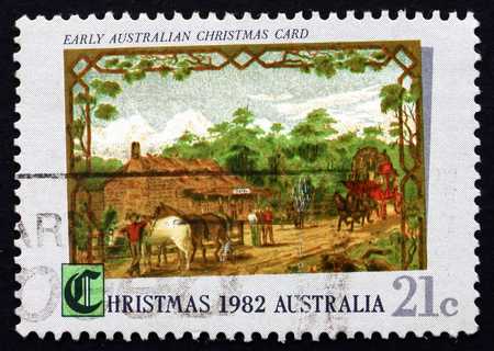 AUSTRALIA - CIRCA 1982: a stamp printed in the Australia shows Early Australian Christmas Card, 1881, circa 1982