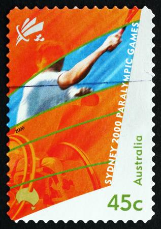 AUSTRALIA - CIRCA 2000: a stamp printed in the Australia shows Wheelchair Tennis, 2000 Paralympics, Sydney, circa 2000