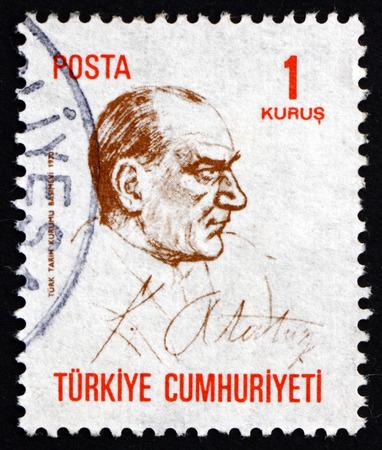 mustafa: TURKEY - CIRCA 1970: a stamp printed in the Turkey shows Mustafa Kemal Ataturk, the First President of Turkey, Father of the Turks, circa 1970