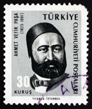 the statesman: TURKEY - CIRCA 1965: a stamp printed in the Turkey shows Ahmet Vefik Pasha, Ottoman Statesman, Diplomat and Playwright, circa 1965