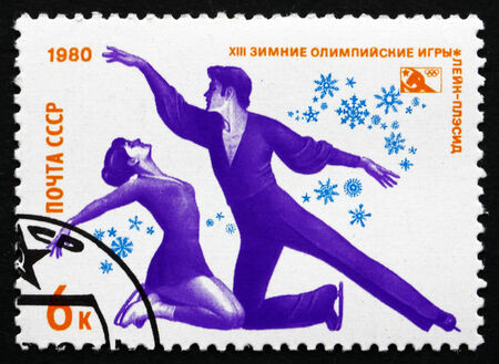 RUSSIA - CIRCA 1980: a stamp printed in the Russia shows Freestyle Skating, 1980 Winter Olympics, Lake Placid, NY, circa 1980