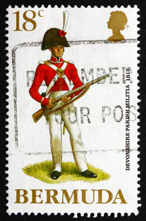 militia: BERMUDA - CIRCA 1988: a stamp printed in Bermuda shows Devonshire Parish Militia, 1812, Military Uniforms, circa 1988 Editorial