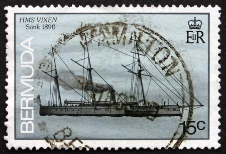 wrecked: BERMUDA - CIRCA 1986: a stamp printed in Bermuda shows HMS Vixen, Shipwreck, Wrecked 1890, circa 1986