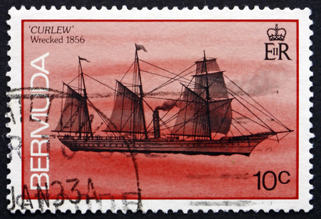 wrecked: BERMUDA - CIRCA 1986: a stamp printed in Bermuda shows Curlew, Shipwreck, Wrecked 1856, circa 1986 Editorial