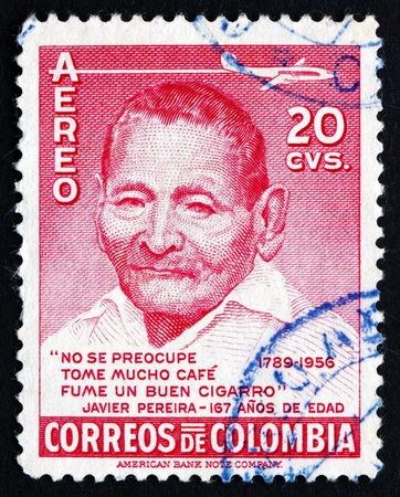 indian postal stamp: COLOMBIA - CIRCA 1956: a stamp printed in the Colombia shows Javier Pereira, Zenu Indian, was over 160 Years Old at Time of His Death, circa 1956