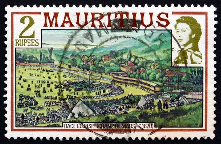 MAURITIUS - CIRCA 1989: a stamp printed in the Mauritius shows Champ de Mars Race Course, 1870, circa 1989