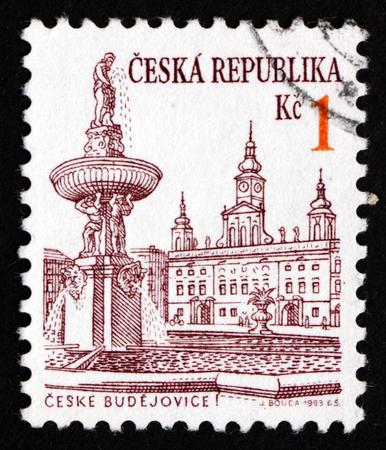 CZECHOSLOVAKIA - CIRCA 1993: a stamp printed in the Czechoslovakia shows View of Ceske Budejovice, City in the South Bohemian Region, circa 1993