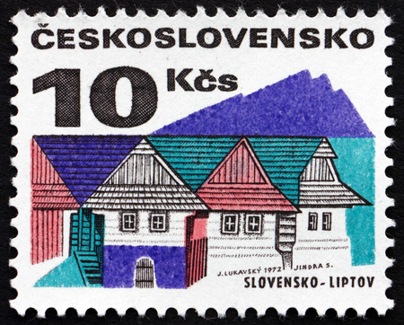 CZECHOSLOVAKIA - CIRCA 1972: a stamp printed in the Czechoslovakia shows Old Houses, Liptov, Region in Northern Slovakia, circa 1972