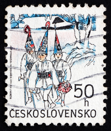 CZECHOSLOVAKIA - CIRCA 1991: a stamp printed in the Czechoslovakia shows Three Kings, Christmas, circa 1991