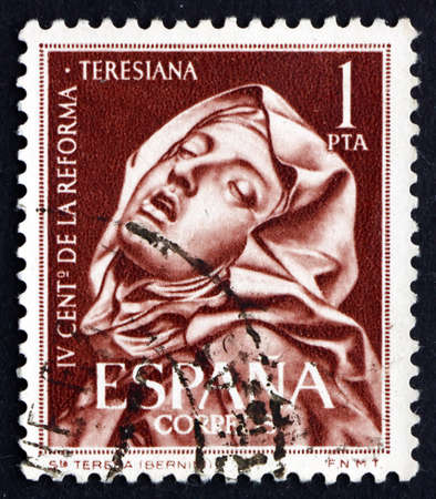 SPAIN - CIRCA 1962: a stamp printed in the Spain shows St. Teresa, Sculpture by Bernini, 4th Centenary of St. Theresa's Reform of the Carmelite Order, circa 1962