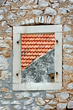 without window: Window without casements on the stone wall