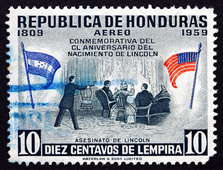 HONDURAS - CIRCA 1959: a stamp printed in Honduras shows Assassination of the President Lincoln, circa 1959