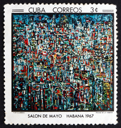 CUBA - CIRCA 1967: a stamp printed in the Cuba shows Havana Landscape, Painting by Rene Portocarrero, circa 1967