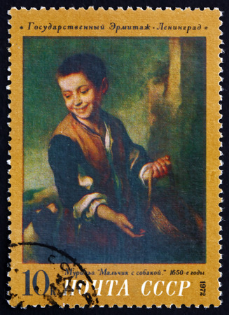 murillo: RUSSIA - CIRCA 1972: a stamp printed in the Russia shows Boy with Dog, Painting by Bartolome Esteban Murillo, circa 1972 Editorial