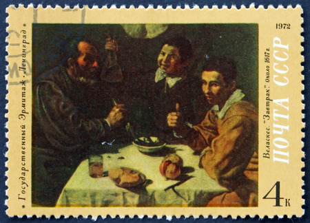 velazquez: RUSSIA - CIRCA 1972: a stamp printed in the Russia shows Breakfast, Painting by Diego Velazquez, circa 1972