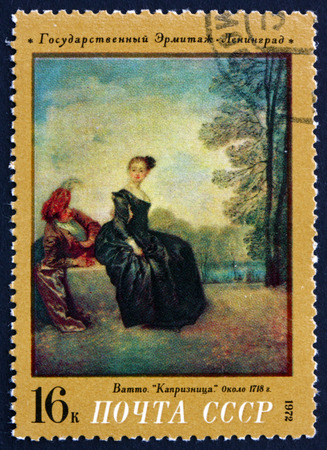 RUSSIA - CIRCA 1972: a stamp printed in the Russia shows Sad Woman, Painting by Antoine Watteau, circa 1972