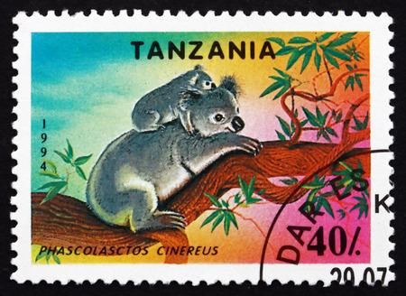 marsupial: TANZANIA - CIRCA 1994: a stamp printed in Tanzania shows Koala, Phascolasctos Cinereus, Arboreal Herbivorous Marsupial Native to Australia, circa 1994