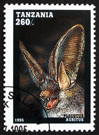 TANZANIA - CIRCA 1995: a stamp printed in Tanzania shows Common Long-eared Bat, Plecotus Auritus, European Bat, circa 1995