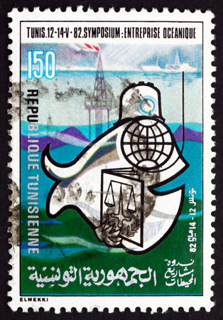oceanic: TUNISIA - CIRCA 1982: a stamp printed in Tunisia shows Oceanic Enterprise Symposium, Tunis, circa 1982