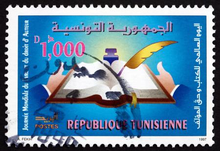 TUNISIA - CIRCA 1997: a stamp printed in Tunisia shows World Book and Copyright Day, circa 1997
