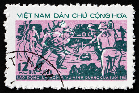 VIETNAM - CIRCA 1973: a stamp printed in Vietnam shows Road Building, Youth Movement, circa 1973