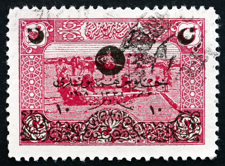 sinai peninsula: TURKEY - CIRCA 1919  a stamp printed in the Turkey shows Fountain in Desert near Sinai, circa 1919 Editorial