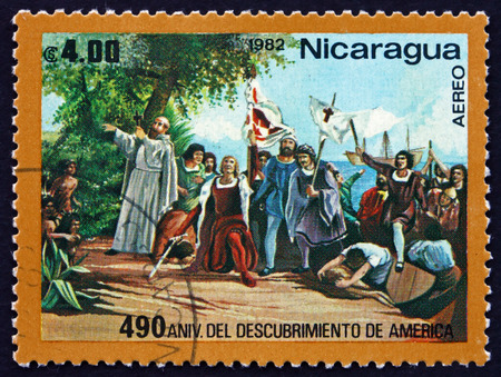 colonizer: NICARAGUA - CIRCA 1982: a stamp printed in Nicaragua shows Landing of Columbus, Discovery of America, circa 1982