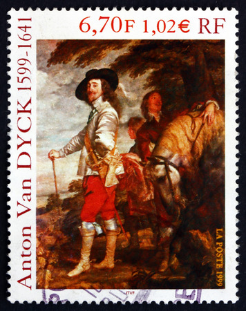 FRANCE - CIRCA 1999: a stamp printed in the France shows Charles I, King of England, Painting by Sir Anthony Van Dyck, circa 1999