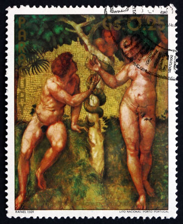 adam and eve: PARAGUAY - CIRCA 1982: a stamp printed in Paraguay shows Adam and Eve, The Fall, Painting by Raphael Sanzio da Urbino, circa 1982 Editorial