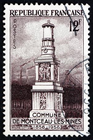 mineros: FRANCIA - CIRCA 1956: un sello impreso en la Francia muestra Miners monumento, ciudad Montceau-les-Mines, aniversario n�mero 100, alrededor del a�o 1956 Editorial