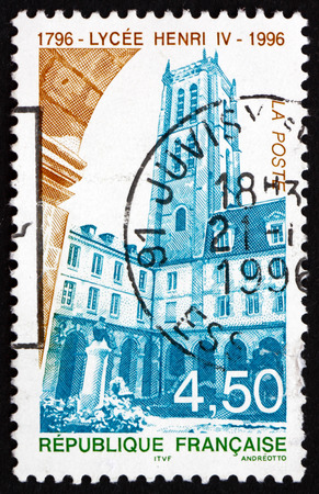 post secondary schools: FRANCE - CIRCA 1996: a stamp printed in the France shows Henry IV High School, Public Secondary School Located in Paris, Bicentenary, circa 1996