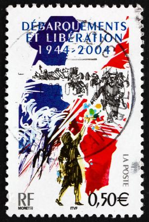 FRANCE - CIRCA 2005: a stamp printed in the France shows D-Day Invasion of France, 60th Anniversary, circa 2005