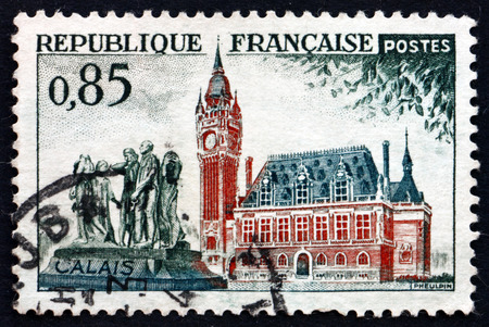 rodin: FRANCE - CIRCA 1961: a stamp printed in the France shows City Hall and Rodins Burghers, Calais, circa 1961 Editorial