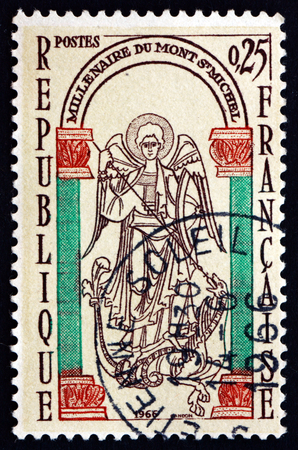 slaying: FRANCE - CIRCA 1966: a stamp printed in the France shows St. Michael Slaying the Dragon, Millenium of Mont-Saint-Michel, Normandy, circa 1966 Editorial