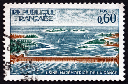 rance: FRANCE - CIRCA 1966: a stamp printed in the France shows Rance Power Station, Tidal Power Station in the Estuary of the English Channel, circa 1966