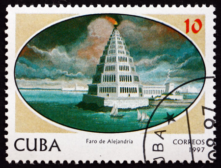 CUBA - CIRCA 1997: a stamp printed in the Cuba shows Lighthouse of Alexandria, Seven Wonders of the Ancient World, circa 1997