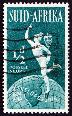 upu: SOUTH AFRICA - CIRCA 1949: a stamp printed in South Africa shows Mercury and Globe, 75th Anniversary of the UPU, circa 1949