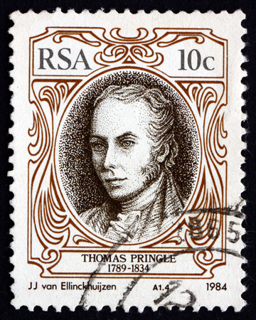SOUTH AFRICA - CIRCA 1984: a stamp printed in South Africa shows Thomas Pringle, Scottish Writer, Poet and Abolitionist, Father of the South African Poetry, circa 1984 Editorial