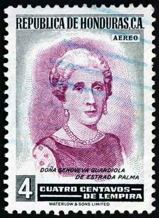 HONDURAS - CIRCA 1956: a stamp printed in Honduras shows Genoveva Guardiola de Estrada Palma, First Lady of Cuba, 1902 - 1906, circa 1956