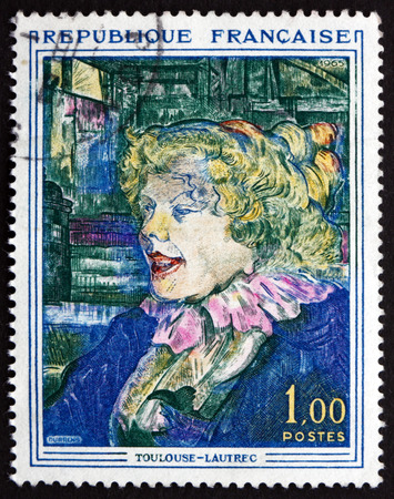 english girl: FRANCE - CIRCA 1965: a stamp printed in the France shows The English Girl from the Star, Painting by Toulouse-Lautrec, circa 1965