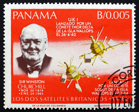 PANAMA - CIRCA 1966: a stamp printed in the Panama shows Sir Winston Churchill, British Satellites, circa 1966