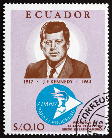 ECUADOR - CIRCA 1967: a stamp printed in the Ecuador shows John F. Kennedy, 50th Birth Anniversary, 35th President of the United States, 1961 - 1963, circa 1967