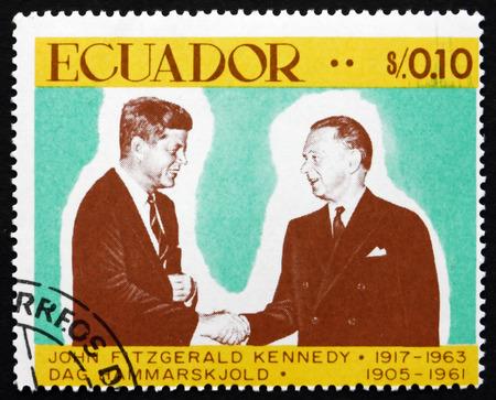 john fitzgerald kennedy: ECUADOR - CIRCA 1967: a stamp printed in the Ecuador shows John Fitzgerald Kennedy and DAG Hammarskjold, circa 1967