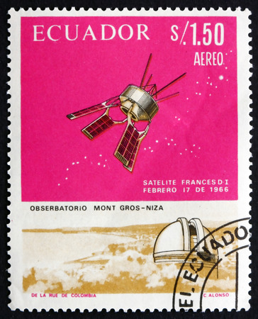 d1: ECUADOR - CIRCA 1966: a stamp printed in the Ecuador shows French Satellite D-1 and Mt. Gros Observatory, French-American Cooperation in Space, circa 1966