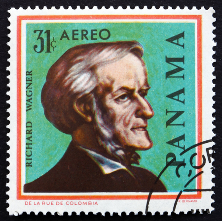 PANAMA - CIRCA 1966: a stamp printed in the Panama shows Richard Wagner, German Composer, Theatre Director and Conductor, circa 1966
