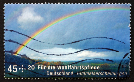 phenomena: GERMANY - CIRCA 2009: a stamp printed in the Germany shows Rainbow, Celestial Phenomena, circa 2009